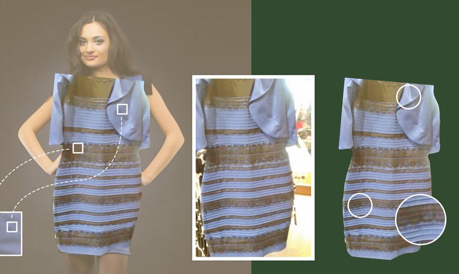 По центру оригинал, а слева и справа то же платье, вырезанное по контуру
