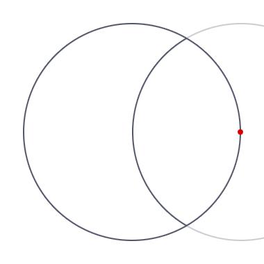 Из этой точки проводим циркулем <i>как нарисовать орнамент поэтапно</i> внутри круга (линия должна пройти через центр круга!)