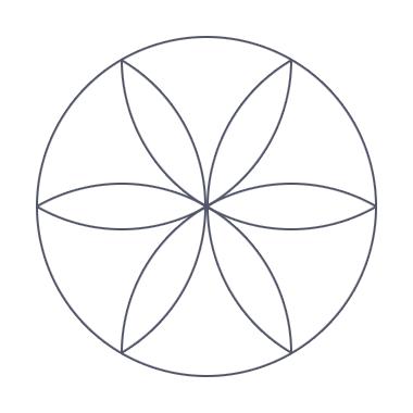 Рисуем круги из всех точек пересечения, получаем цветок