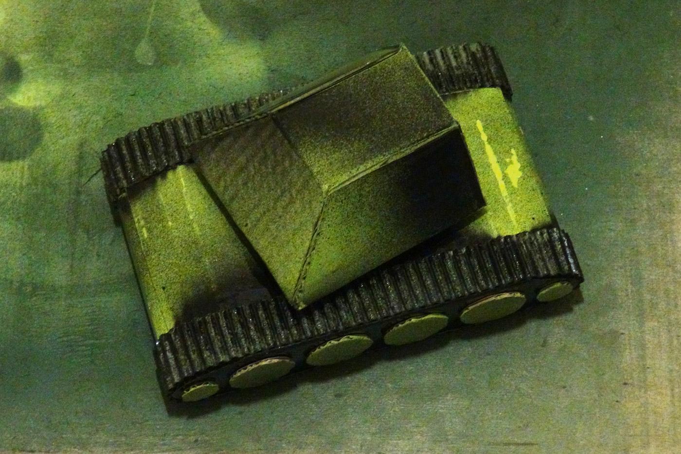 Как сделать танк из гофрирована картона